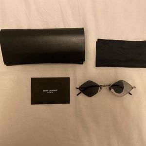 Saint Laurent Metal Mirrored Diamond Sunglasses